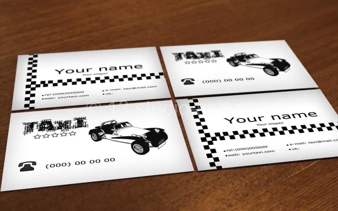 Скачать шаблон черно-белой визитки такси