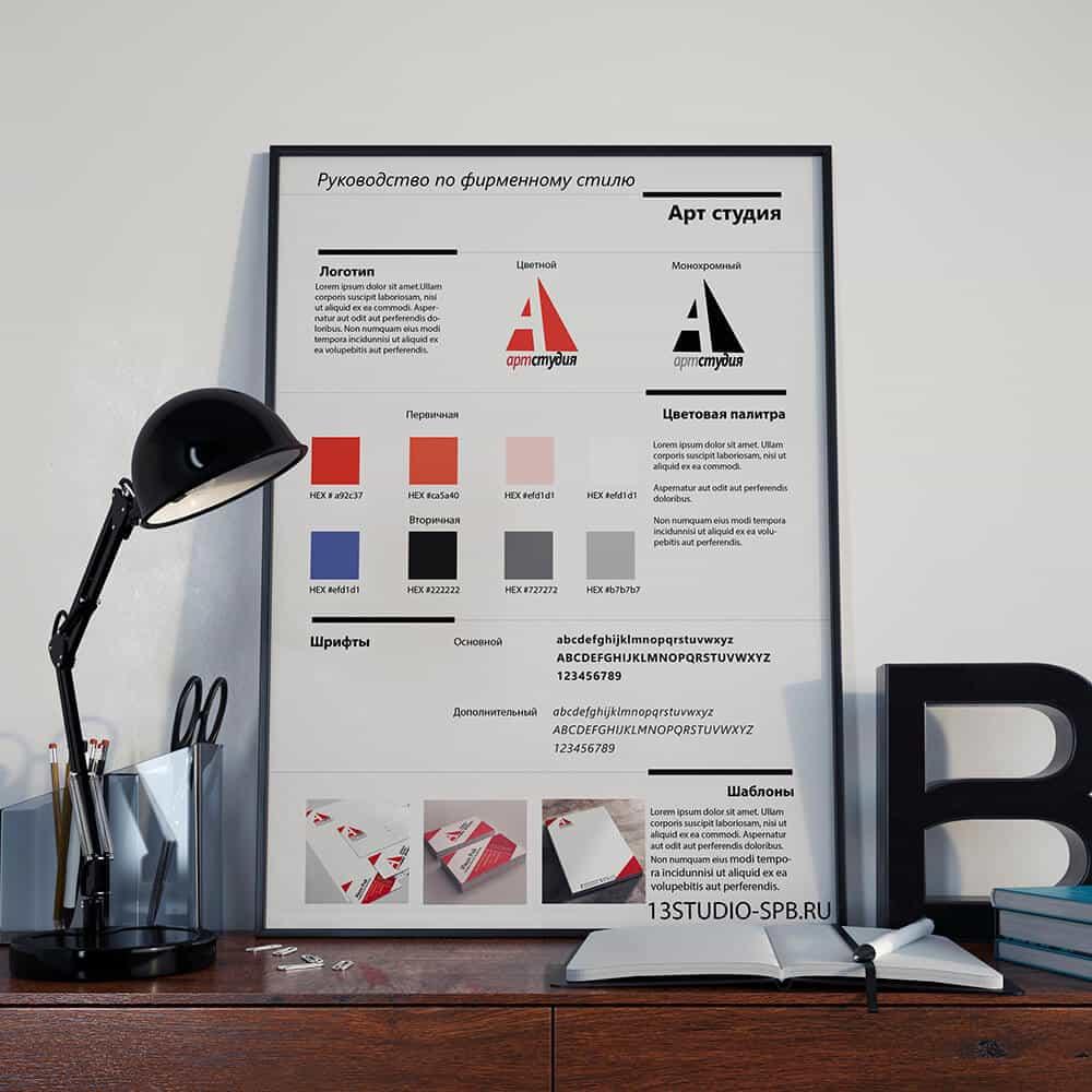 Как создать руководство по фирменному стилю Шаблон разработки 13studio-spb.ru_Постер