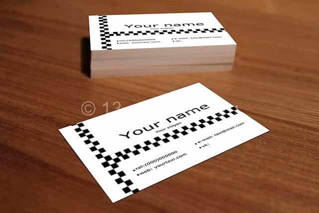Черно- белая визитко такси.